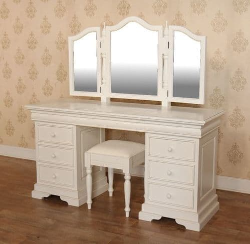 Sleigh Dressing Table, Mirror and Stool Set